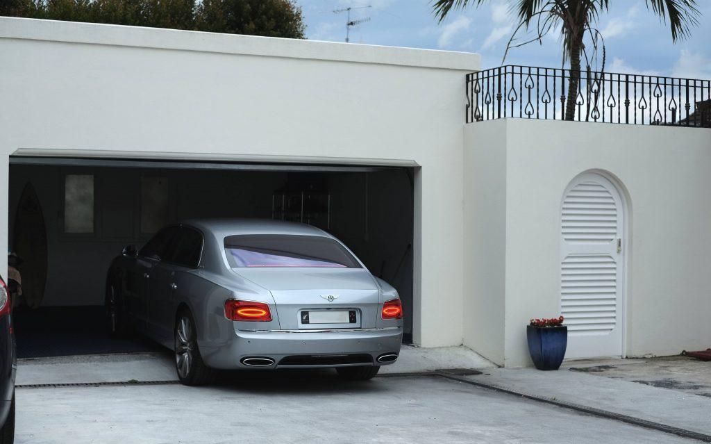 Prestige Cedar Louvre Garage Door Painted