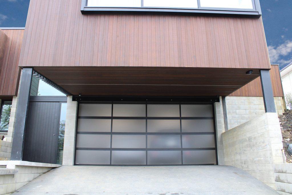 Plexiglass Garage Door with Black Powdercoated Frames